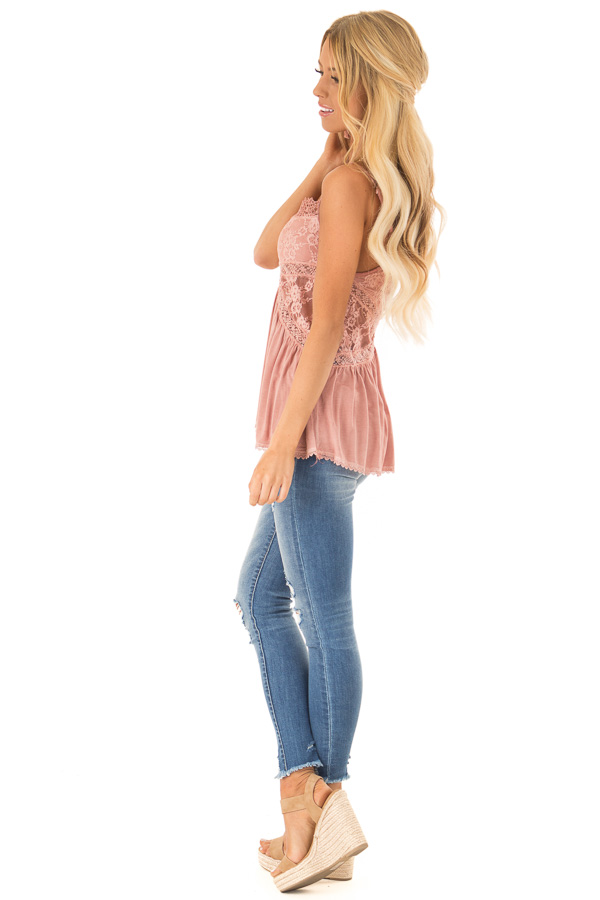 Dusty Mauve Peplum Tank with Sheer Lace Side Panels side full body