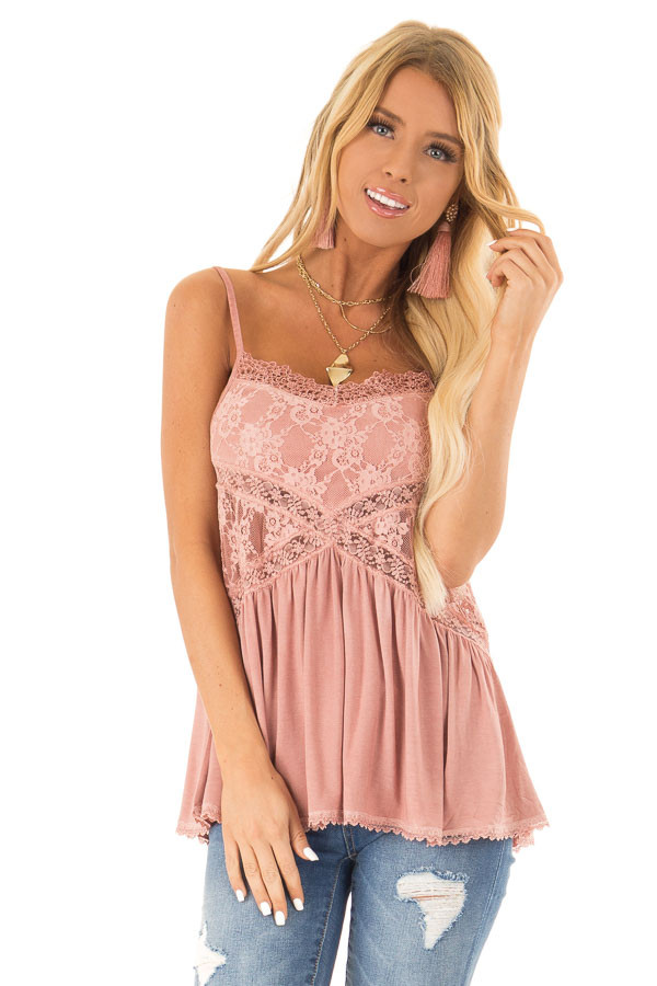 Dusty Mauve Peplum Tank with Sheer Lace Side Panels front close up