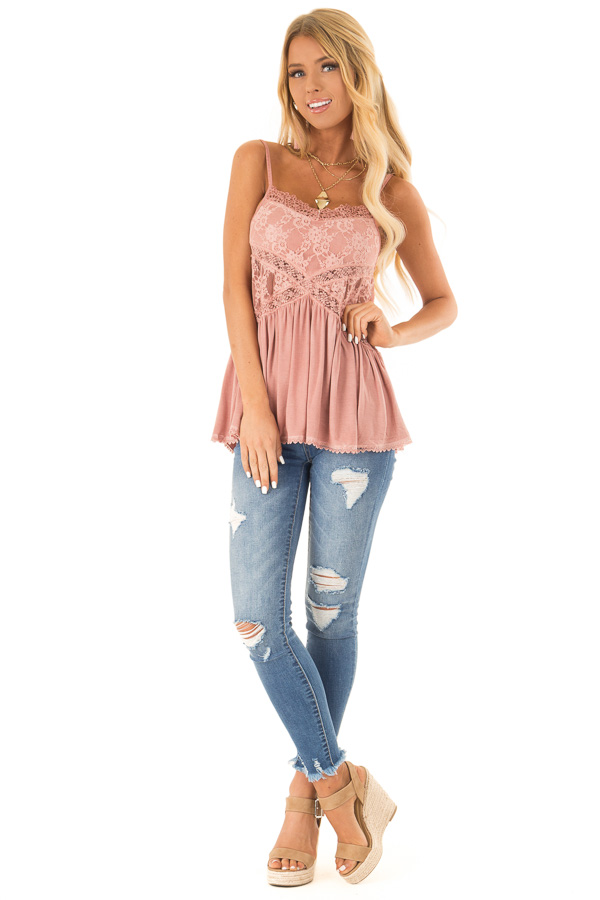 Dusty Mauve Peplum Tank with Sheer Lace Side Panels front full body