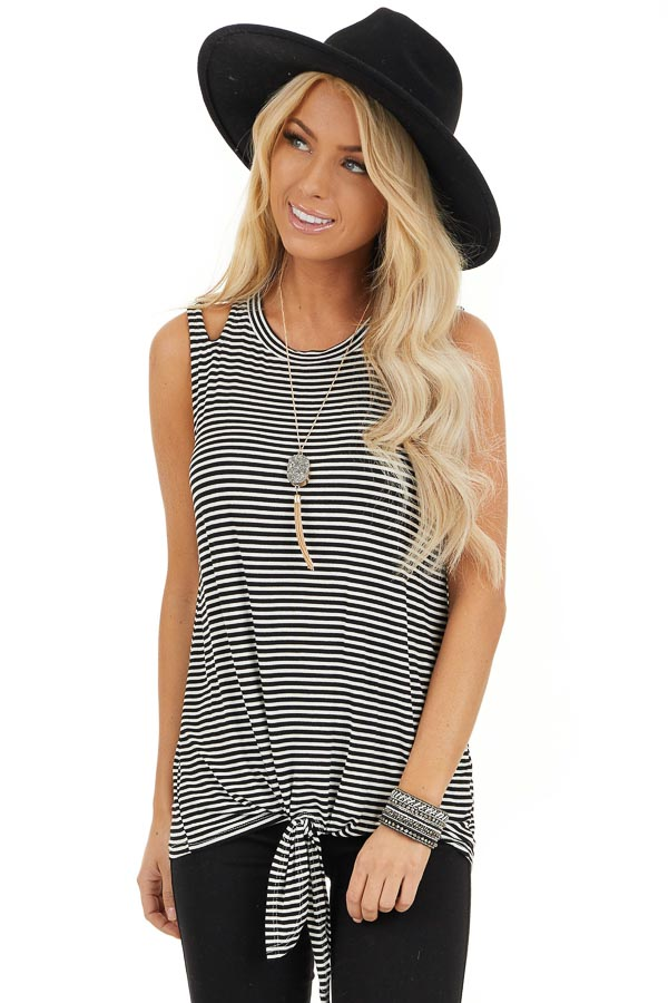 Ivory and Black Striped Tank with Shoulder Cutouts and Tie front close up