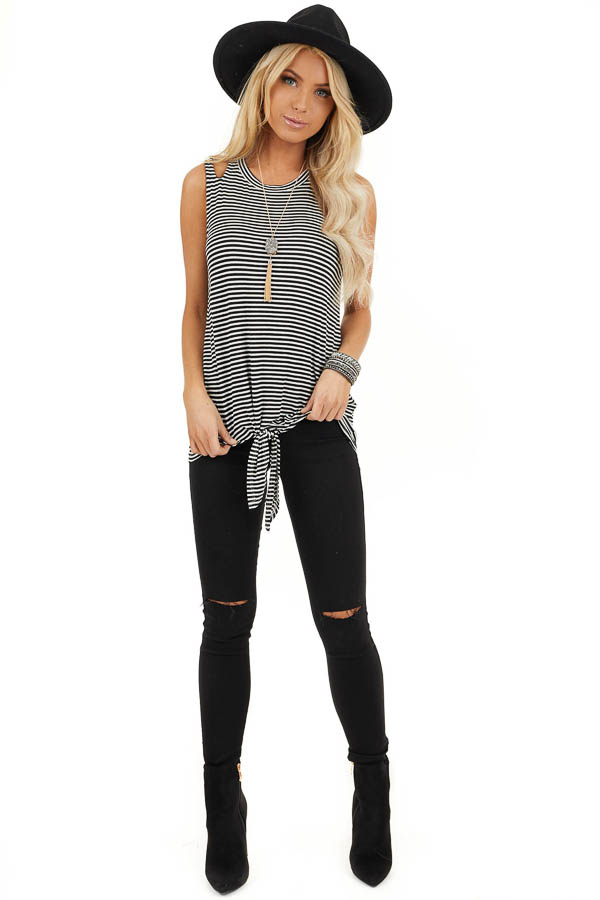 Ivory and Black Striped Tank with Shoulder Cutouts and Tie front full body