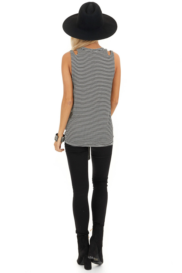 Ivory and Black Striped Tank with Shoulder Cutouts and Tie back full body