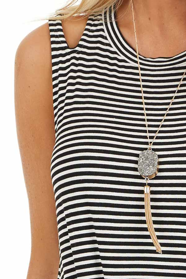 Ivory and Black Striped Tank with Shoulder Cutouts and Tie detail
