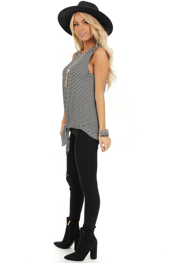 Ivory and Black Striped Tank with Shoulder Cutouts and Tie side full body