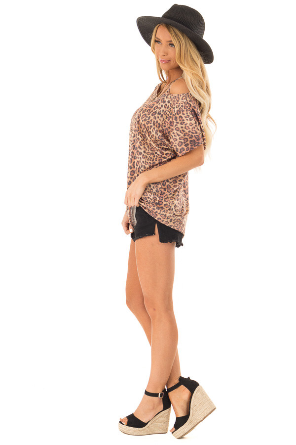 cf7d47ae1048c6 ... Toffee Leopard Print Strapped One Shoulder Dolman Top side full body ...