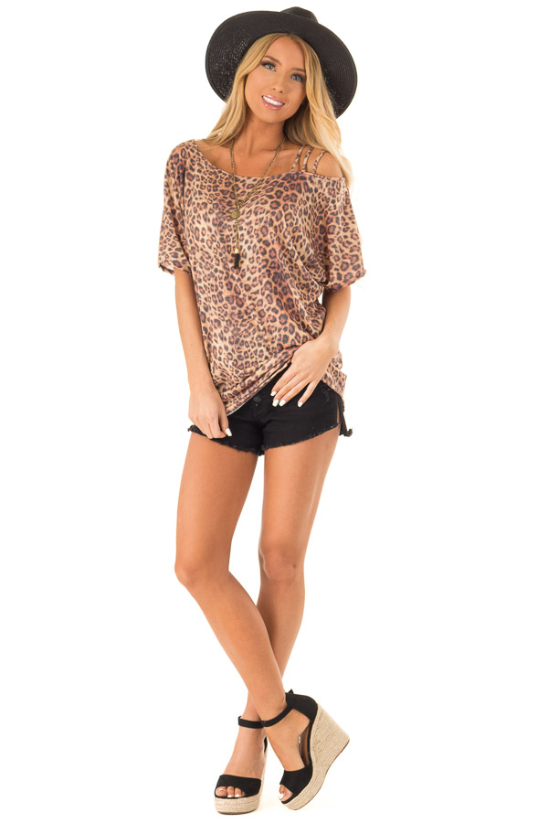 476238bddc04d ... Toffee Leopard Print Strapped One Shoulder Dolman Top front full body  ...