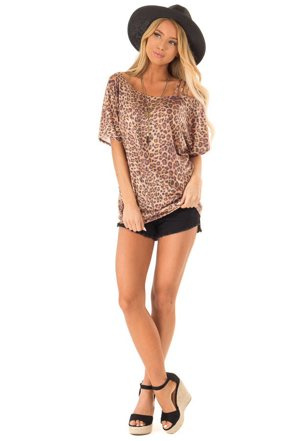e560f4e7c87920 Toffee Leopard Print Strapped One Shoulder Dolman Top front full body ...