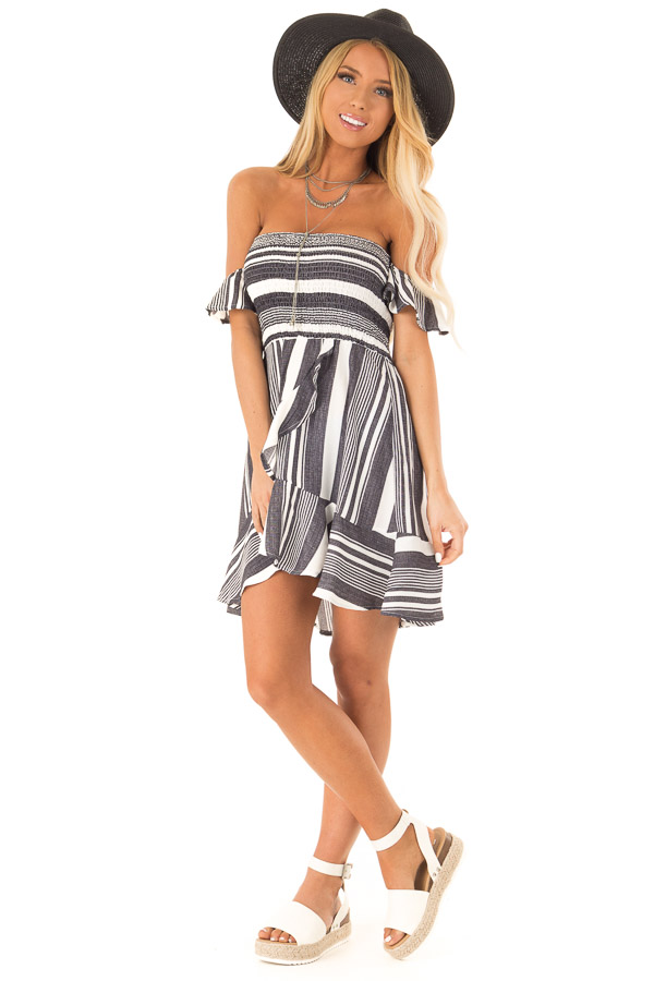 Coal Black and Ivory Striped Off the Shoulder Ruffle Dress front full body