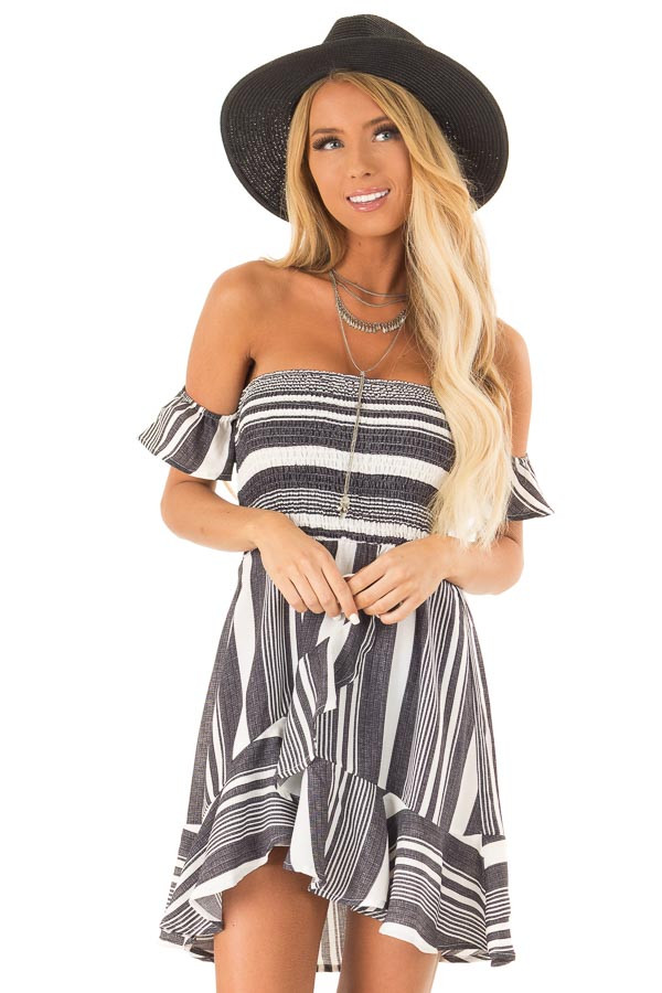 Coal Black and Ivory Striped Off the Shoulder Ruffle Dress front close up