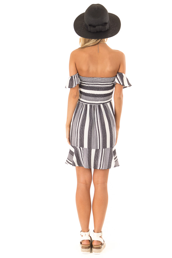 Coal Black and Ivory Striped Off the Shoulder Ruffle Dress back full body