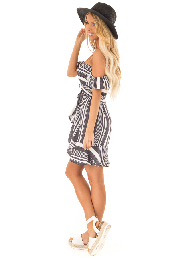 Coal Black and Ivory Striped Off the Shoulder Ruffle Dress side full body