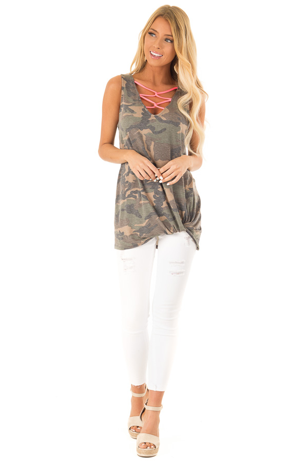 e30ce81a Olive Camo Print Tank with Hot Pink Criss Cross Neck Detail front full body