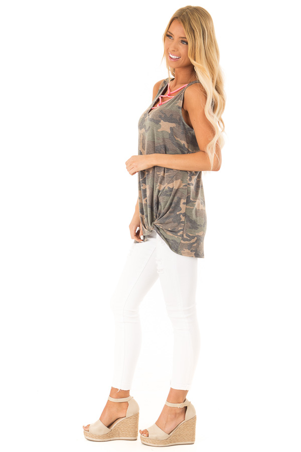 Olive Camo Print Tank with Hot Pink Criss Cross Neck Detail side full body