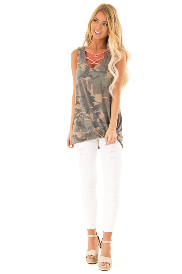 Olive Camo Print Tank with Hot Pink Criss Cross Neck Detail front full body