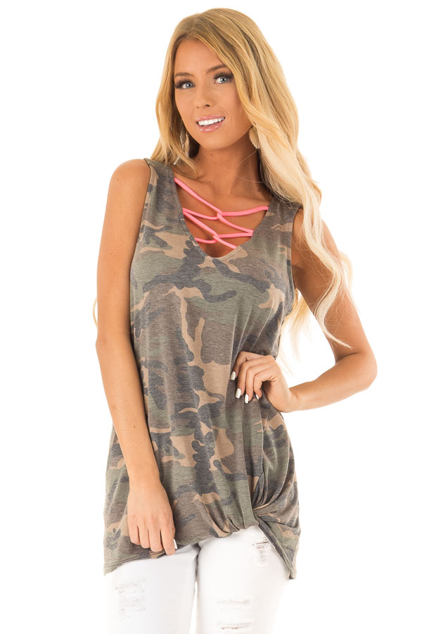 Olive Camo Print Tank with Hot Pink Criss Cross Neck Detail front close up