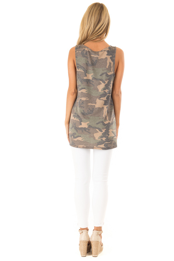 Olive Camo Print Tank with Hot Pink Criss Cross Neck Detail back full body