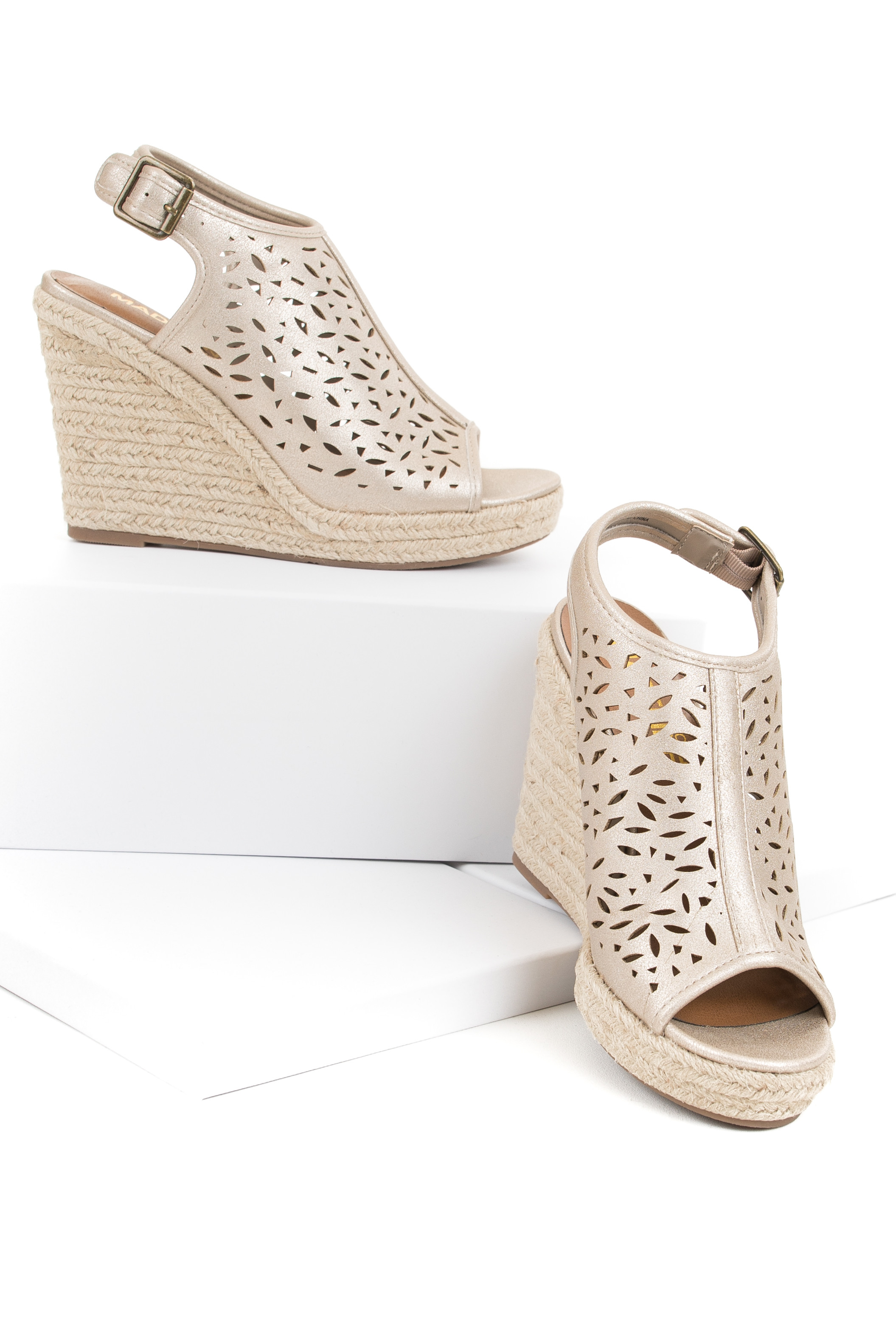 Metallic Champagne Open Toe Wedge with Laser Cutout Details