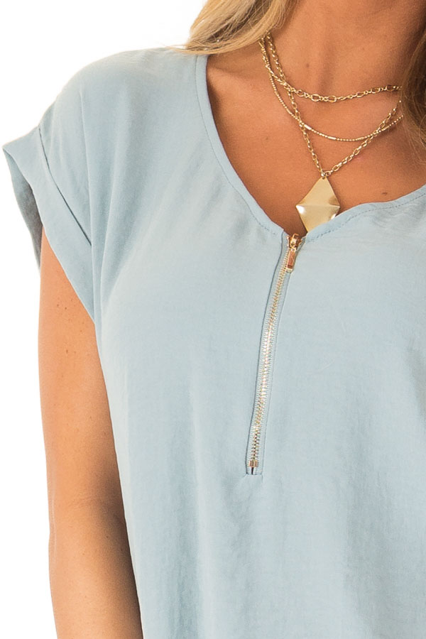 Dusty Teal Cap Sleeve Blouse with Gold Zipper Neckline detail