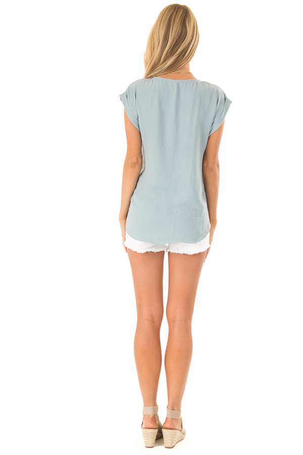 Dusty Teal Cap Sleeve Blouse with Gold Zipper Neckline back full body