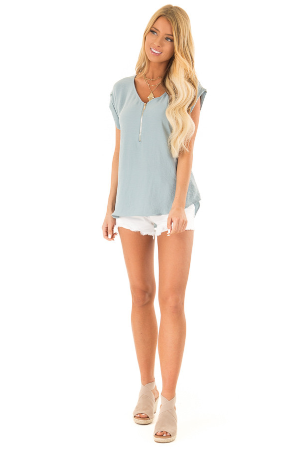 Dusty Teal Cap Sleeve Blouse with Gold Zipper Neckline front full body