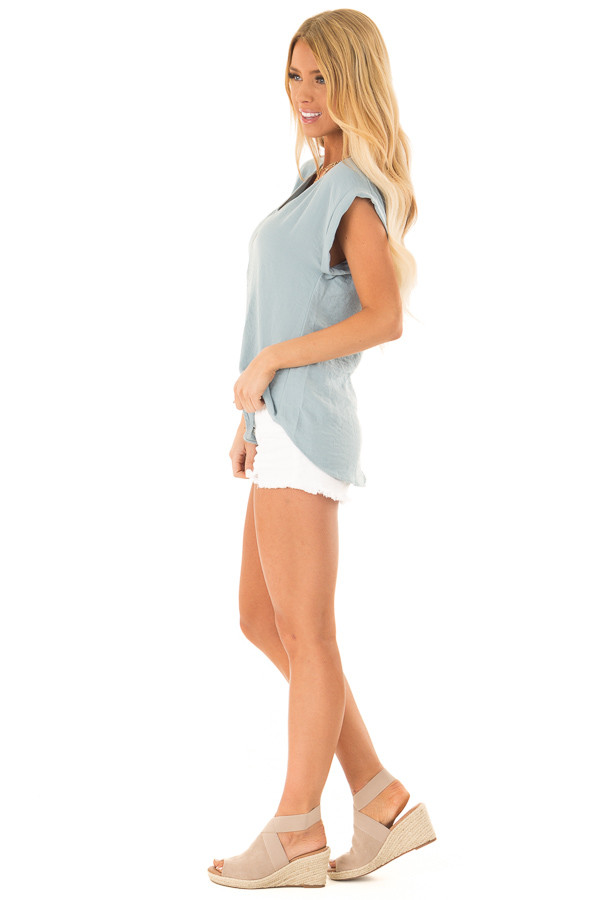 Dusty Teal Cap Sleeve Blouse with Gold Zipper Neckline side full body