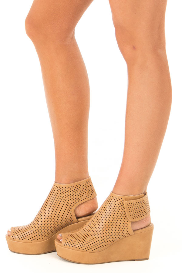 Cognac Perforated Open Toe Wedge Sandal side view
