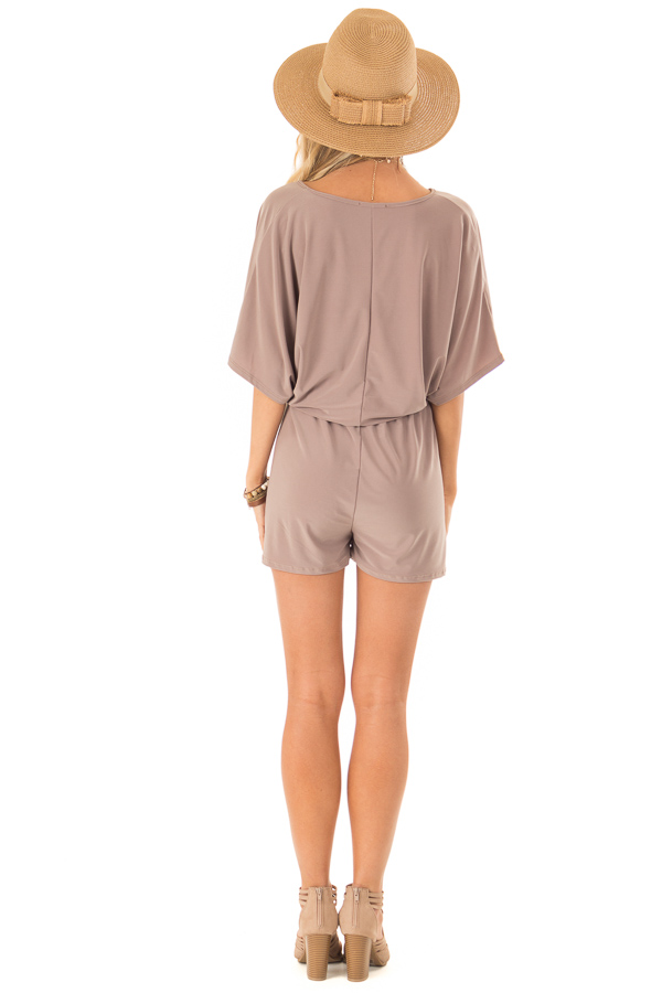 Mocha Surplice Romper with Pockets and Batwing Sleeves back full body