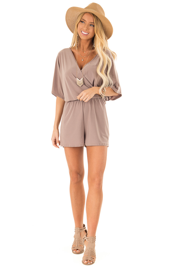 Mocha Surplice Romper with Pockets and Batwing Sleeves front full body