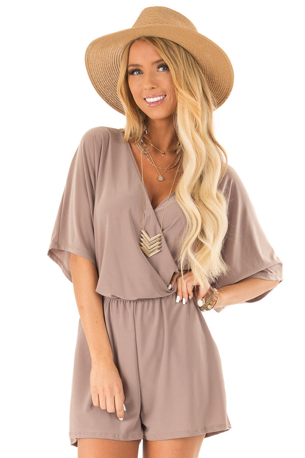 Mocha Surplice Romper with Pockets and Batwing Sleeves front close up