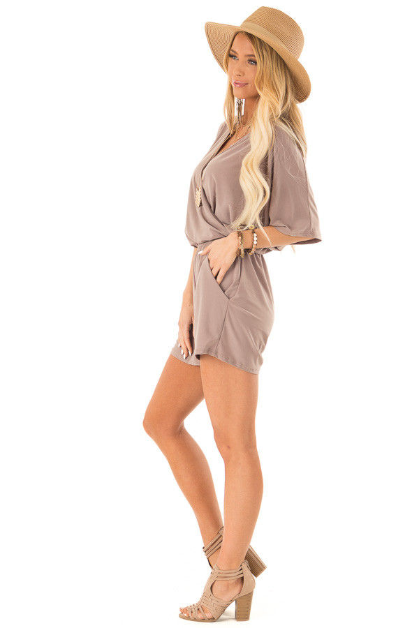 Mocha Surplice Romper with Pockets and Batwing Sleeves side full body