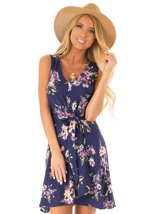 6566a146f49 Navy Floral Print Wrap Mini Dress with Front Tie - Lime Lush Boutique