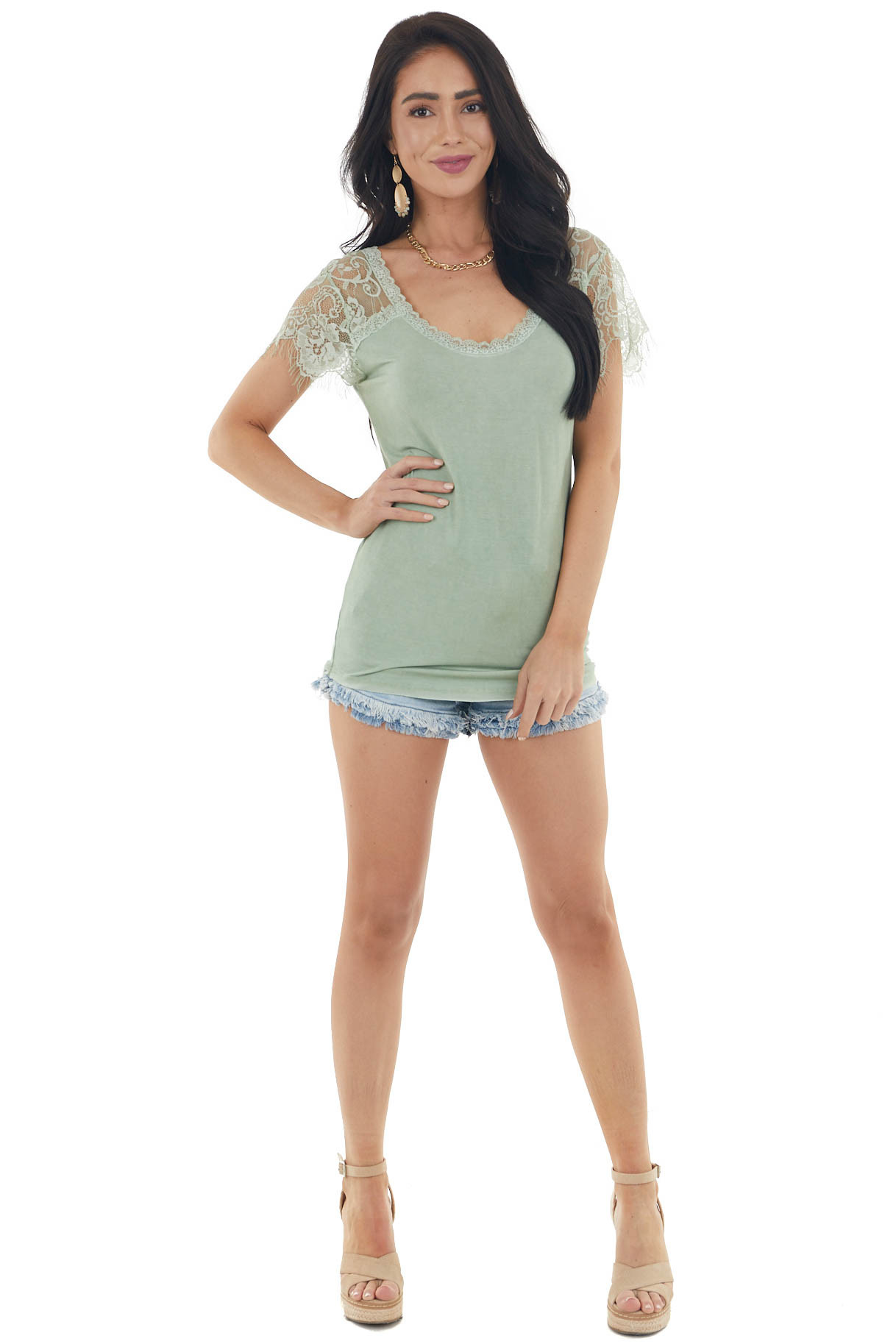 Faded Sage Scoop Neck Top with Sheer Lace Sleeves and Fringe