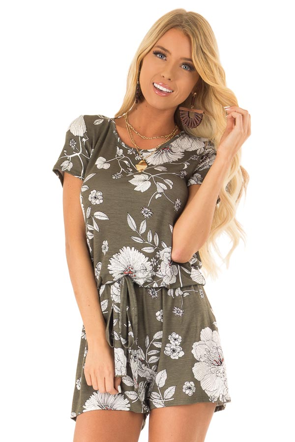Olive Green and Ivory Floral Print Romper with Waist Tie front close up