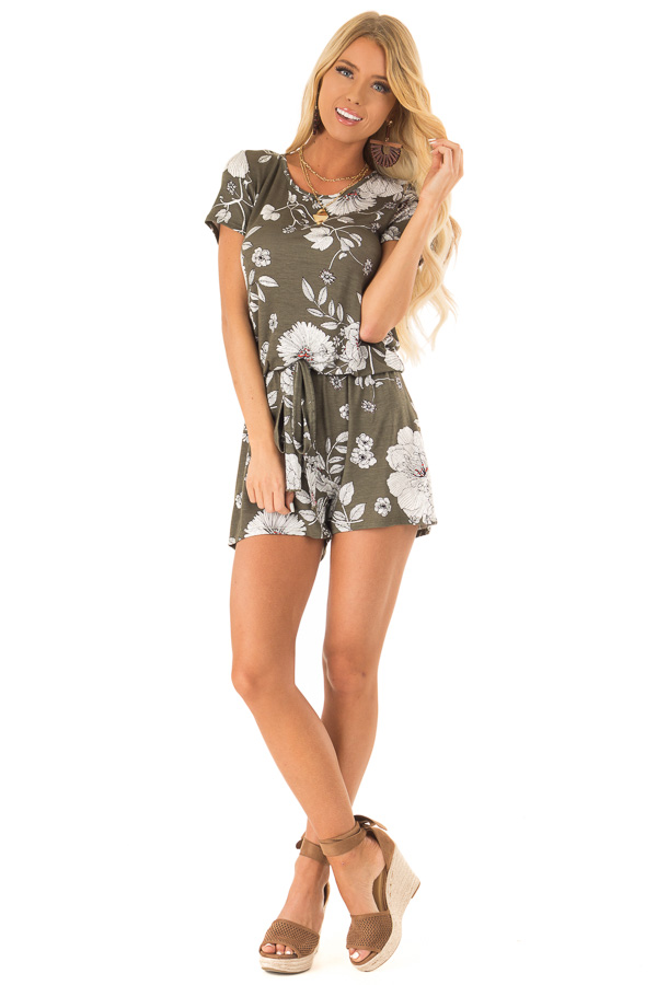 Olive Green and Ivory Floral Print Romper with Waist Tie front full body