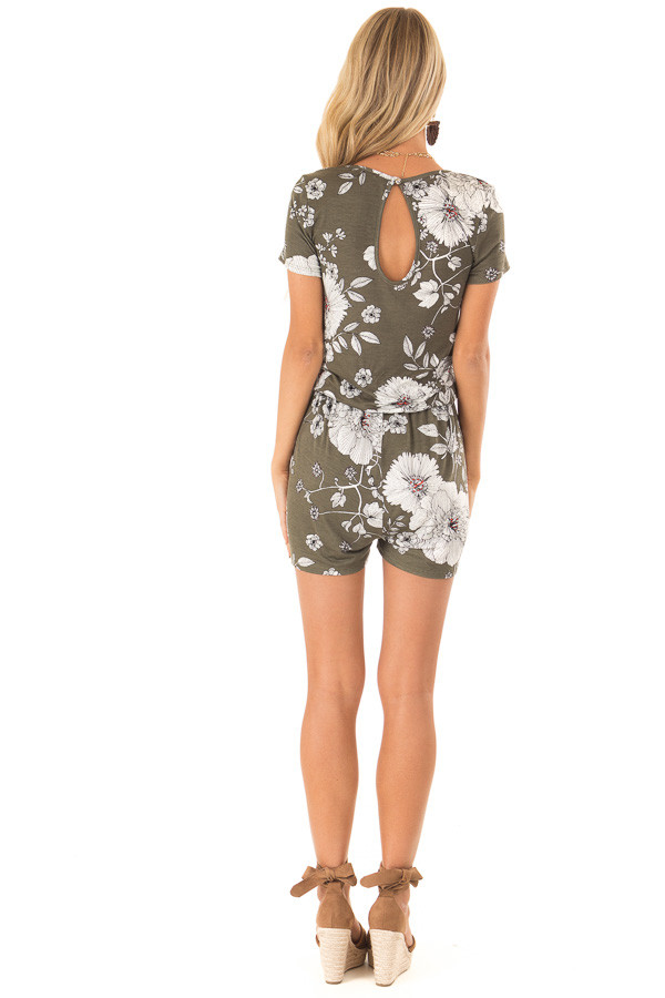 Olive Green and Ivory Floral Print Romper with Waist Tie back full body