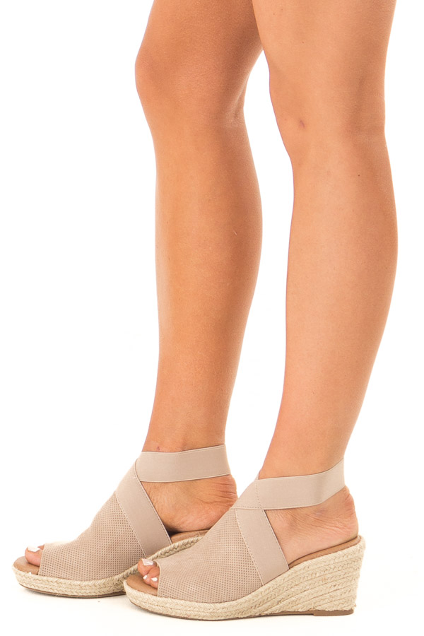 Taupe Textured Open Toe Espadrille Wedge Sandal side view