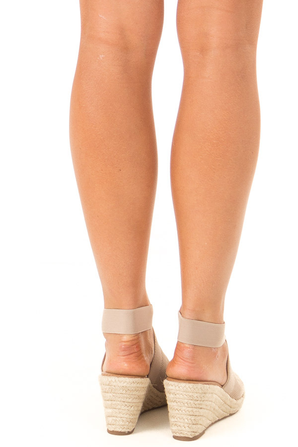Taupe Textured Open Toe Espadrille Wedge Sandal back view