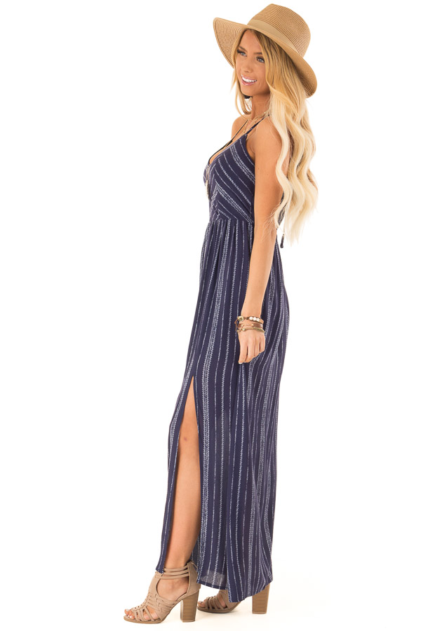 0db17e5a6eeb Navy and White Striped Dress with Open Back and Side Slits side full body