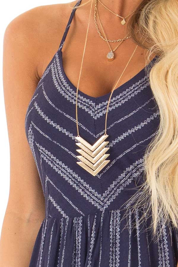 8001bb42082e Navy and White Striped Dress with Open Back and Side Slits - Lime ...