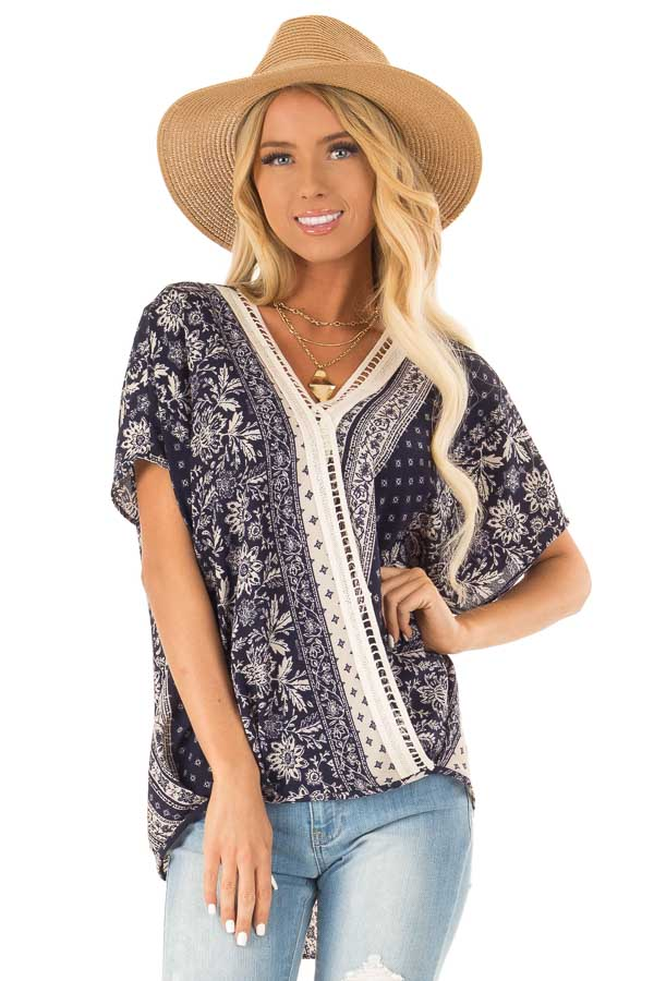 0fa43c46d037e7 Navy and Off White Patterned Cross Over Top with Ladder Lace front close up