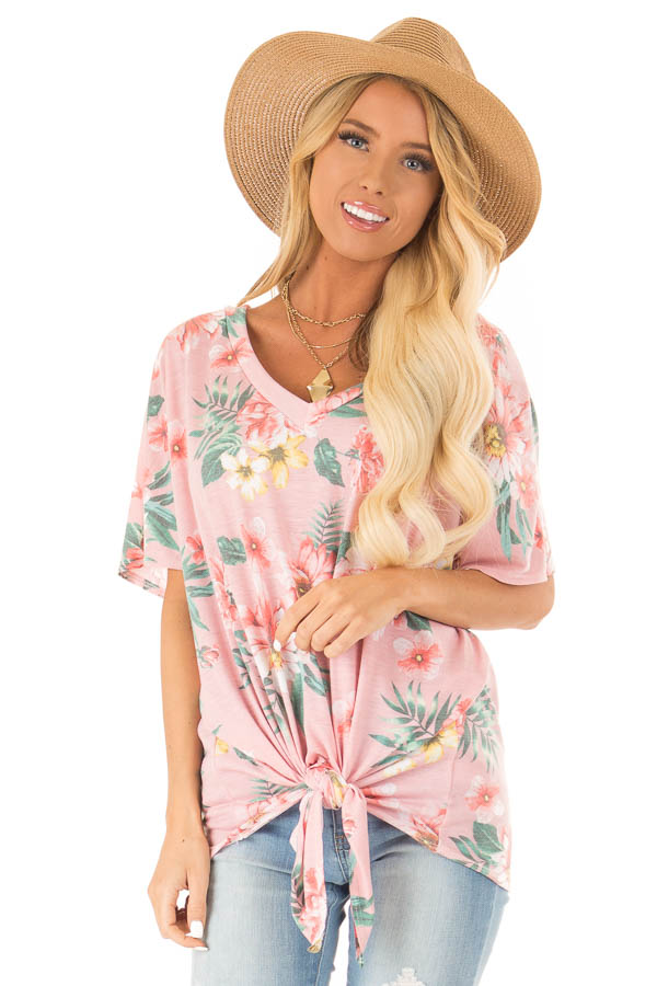 Flamingo Pink V Neck Floral Short Sleeve Top with Front Tie front close up