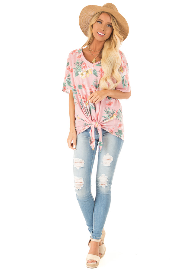 Flamingo Pink V Neck Floral Short Sleeve Top with Front Tie front full body