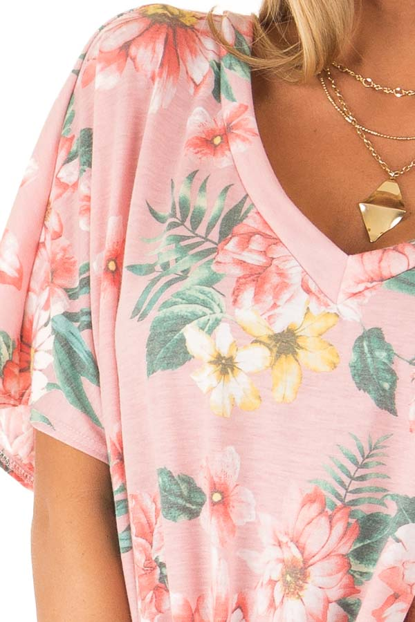 Flamingo Pink V Neck Floral Short Sleeve Top with Front Tie detail