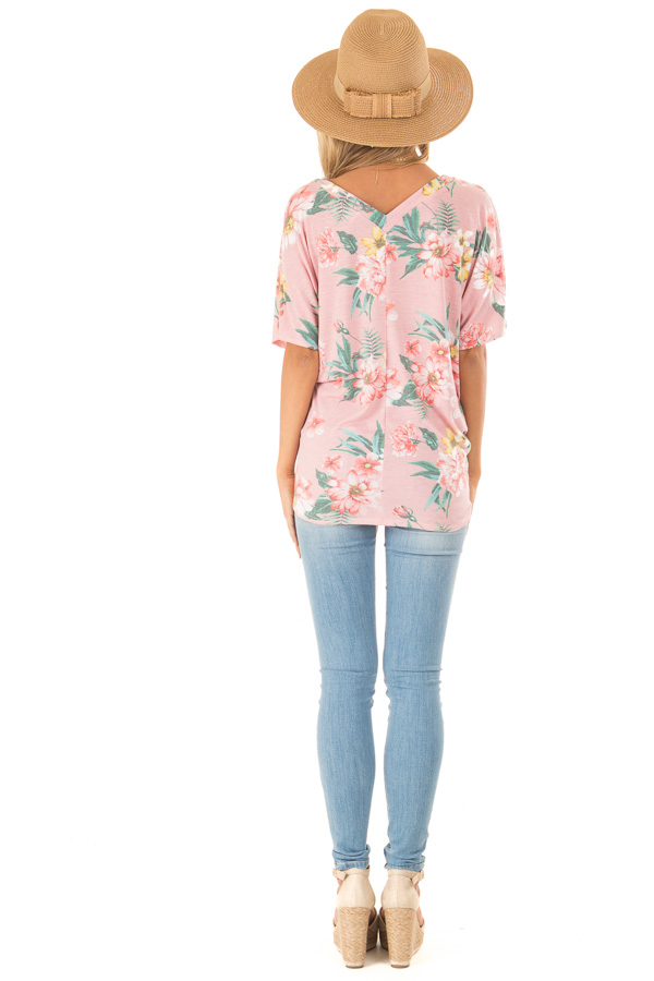 Flamingo Pink V Neck Floral Short Sleeve Top with Front Tie back full body