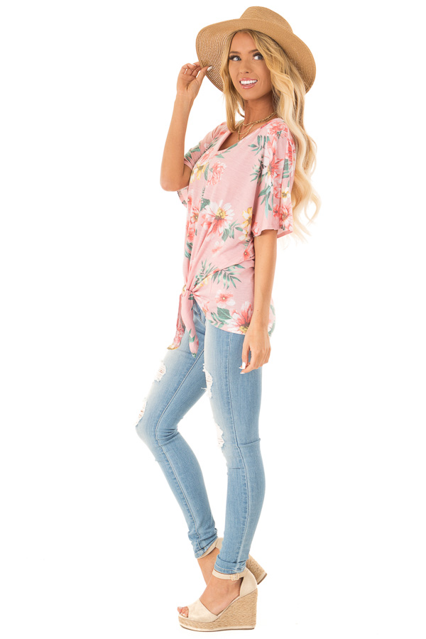 Flamingo Pink V Neck Floral Short Sleeve Top with Front Tie side full body