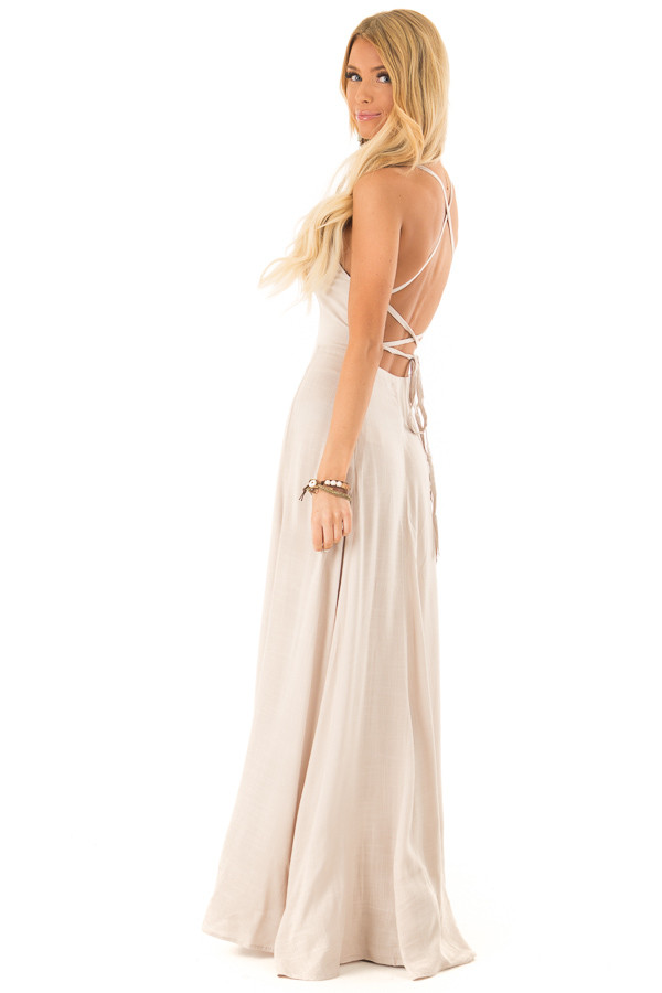 Khaki Maxi Dress with Open Lace Up Back and Pockets side full body