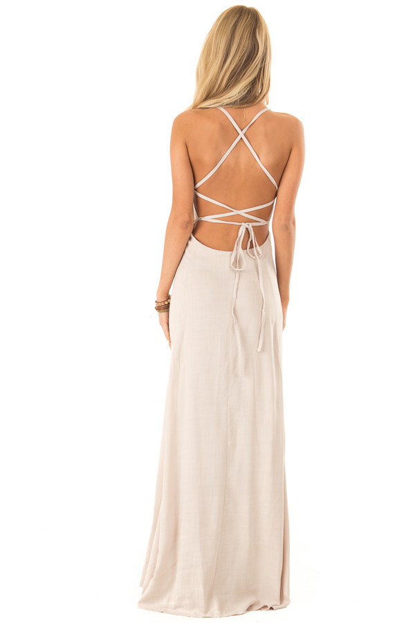 Khaki Maxi Dress with Open Lace Up Back and Pockets back full body