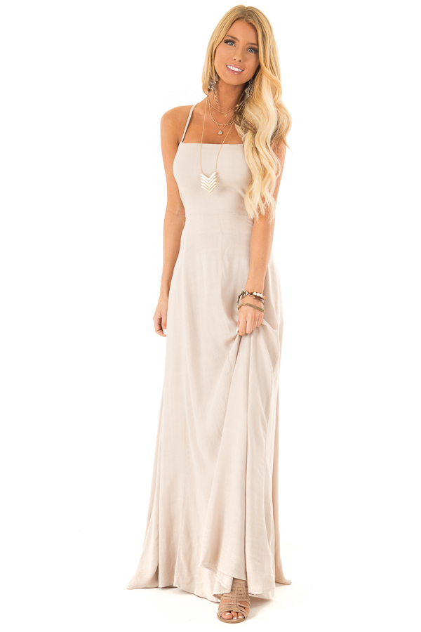 Khaki Maxi Dress with Open Lace Up Back and Pockets front full body