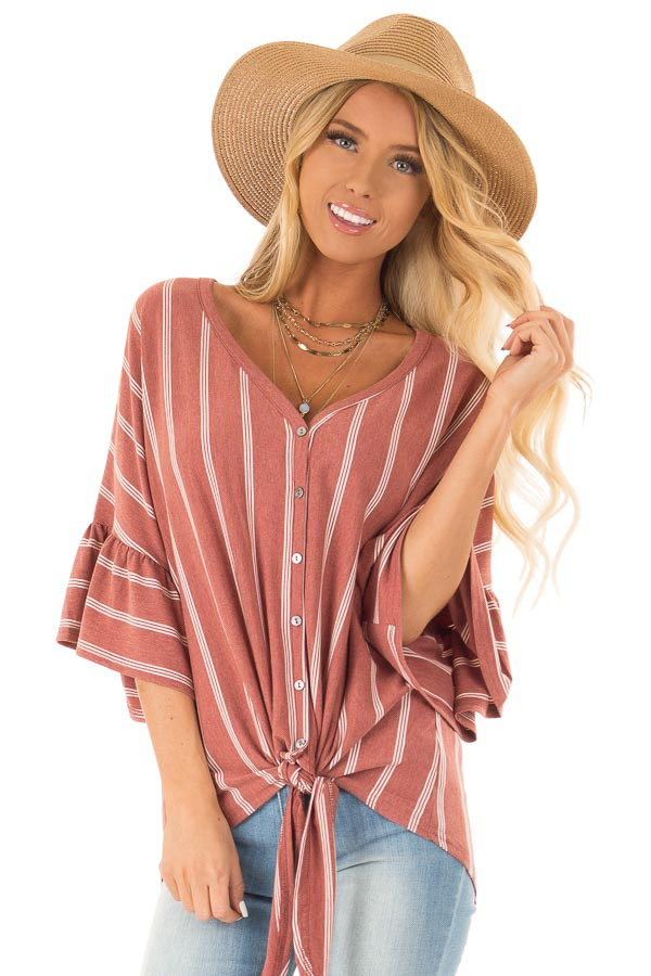 64c4dbaf4b93f4 Vintage Brick Striped Button Up Ruffle Sleeve Top with Tie front close up
