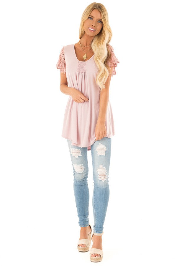 Dusty Blush Top with Sheer Crochet Lace Short Sleeves front full body